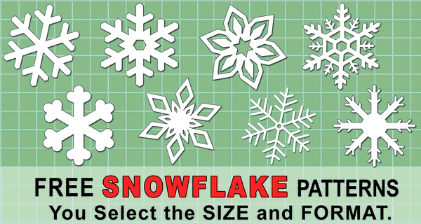 Printable Snowflake Templates, Patterns, and Stencils.  Use these Christmas clip art designs for xmas patterns, holiday ornaments, decorations, coloring pages, Silhouette and Cricut cutting machines, scroll saw patterns.