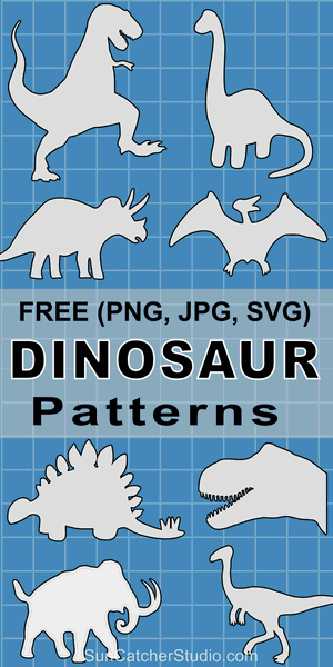 Free printable Dinosaur patterns, stencils, templates, and silhouettes for coloring, scroll saw, laser cutting, sewing, and DIY crafts.