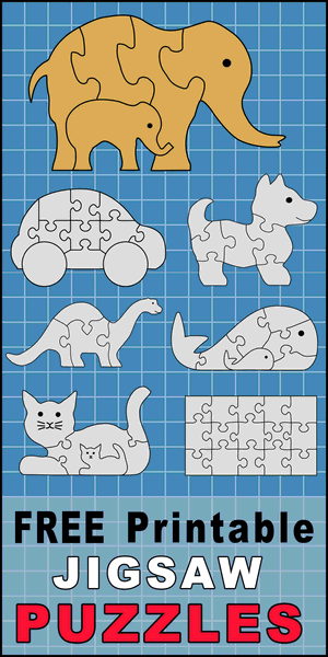 Free printable DIY jigsaw puzzle patterns, stencils, and templates. Use your scroll saw, Cricut, or Silhouette to create homemade, handmade puzzles. Great DIY kid projects and crafts, woodworking projects.