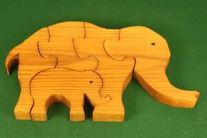 Homemade wooden jigsaw puzzle.