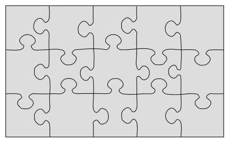 Blank DIY Jigsaw Puzzle Template. Free printable wooden jigsaw patterns, stencils, and templates.  Great for scroll saw, cricut, DIY kid projects, and woodworking projects.