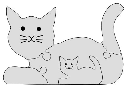 Cat Family Jigsaw Puzzle Pattern. Free printable wooden jigsaw patterns, stencils, and templates.  Great for scroll saw, cricut, DIY kid projects, and woodworking projects.