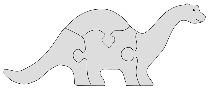 DIY Dinosaur Jigsaw Puzzle Pattern. Free printable wooden jigsaw patterns, stencils, and templates.  Great for scroll saw, cricut, DIY kid projects, and woodworking projects.