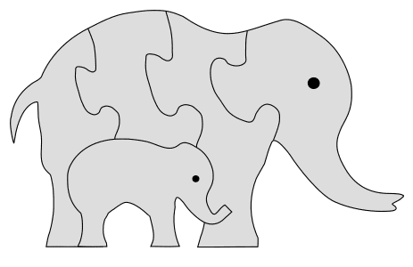 Elephant Family Jigsaw Puzzle Template. Free printable wooden jigsaw patterns, stencils, and templates.  Great for scroll saw, cricut, DIY kid projects, and woodworking projects.