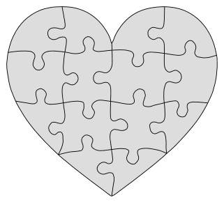 Heart Jig Saw Puzzle Pattern. Free printable wooden jigsaw patterns, stencils, and templates.  Great for scroll saw, cricut, DIY kid projects, and woodworking projects.