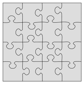 Printable Wooden Jigsaw Puzzle. Free printable wooden jigsaw patterns, stencils, and templates.  Great for scroll saw, cricut, DIY kid projects, and woodworking projects.