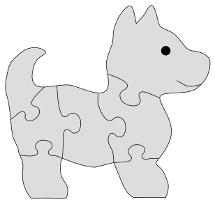 Scroll Saw Dog Puzzle Pattern. Free printable wooden jigsaw patterns, stencils, and templates.  Great for scroll saw, cricut, DIY kid projects, and woodworking projects.