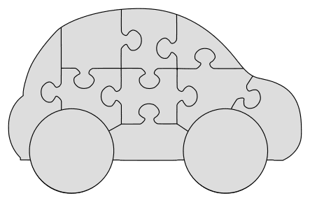 Wooden Easy DIY Car Puzzle. Free printable wooden jigsaw patterns, stencils, and templates.  Great for scroll saw, cricut, DIY kid projects, and woodworking projects.