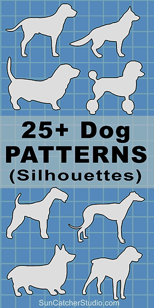 Dog breeds silhouettes patterns, stencils, and templates for coloring, scroll saw, laser cutting.