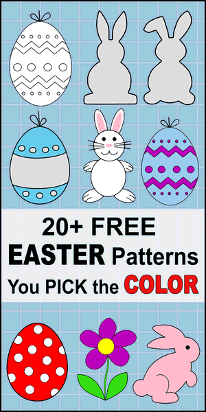 Free DIY Easter clip art patterns, stencils, templates.  Printable Easter egg patterns, bunny, rabbit, flowers.  Use for ornaments and decorations, coloring pages, Cricut designs, silhouette, vector and svg cutting machines, scroll saw patterns.
