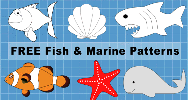 Fish Patterns and Marine Templates (Printable Stencils & Clip Art)