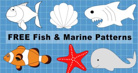 Free printable fish patterns and marine templates, clip art designs, stencils, mermaids, sea shells, tuna, shark, seahorse, starfish, coloring, scroll saw, laser cutting, sewing, and DIY crafts.