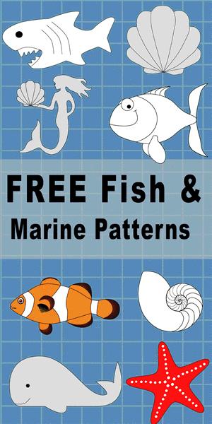 Free DIY printable fish patterns and marine templates, clip art designs, stencils, mermaids, sea shells, tuna, shark, seahorse, starfish, coloring, scroll saw, laser cutting, sewing, and DIY crafts.