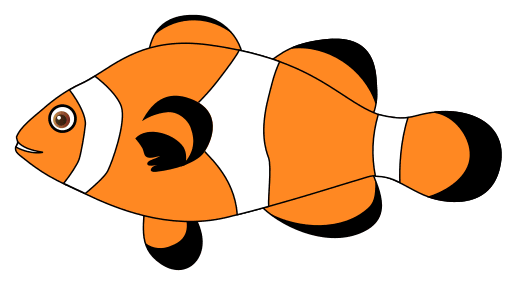 Free Clown Fish Pattern template, stencil, clipart design, printable pattern, vector, cricut, scroll saw, svg, coloring page, quilting pattern.