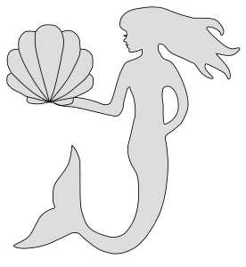 Free Mermaid (Shell) Pattern template, stencil, clipart design, printable pattern, vector, cricut, scroll saw, svg, coloring page, quilting pattern.