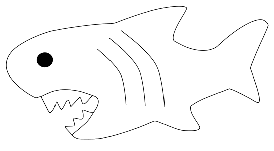 Free Simple Shark Template template, stencil, clipart design, printable pattern, vector, cricut, scroll saw, svg, coloring page, quilting pattern.