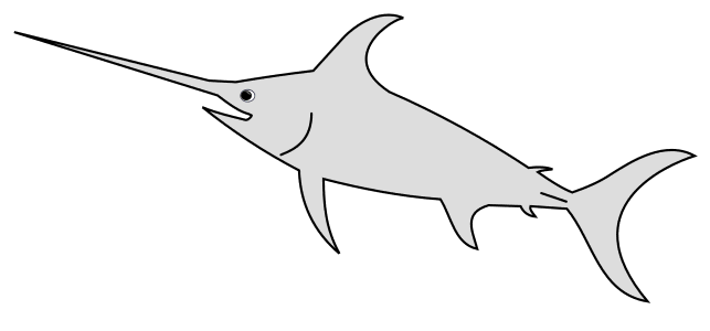 Free Swordfish (Shark) Pattern template, stencil, clipart design, printable pattern, vector, cricut, scroll saw, svg, coloring page, quilting pattern.