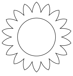 Sunflower plant bloom template., flowers template, pattern, svg stencil, free template, pattern, clipart design, cricut, silhouette, scroll saw, coloring page.