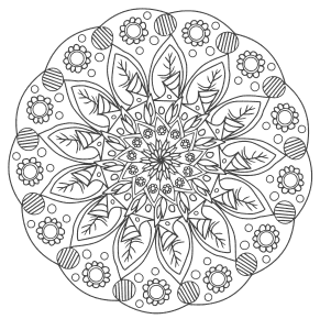 Free printable Flowers Decorative Ornament Pattern.  These mandala coloring pages and coloring sheets are for adults, children, and beginners to download, print and colour.