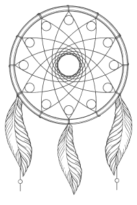 Free printable Native American Dream Catcher.  These mandala coloring pages and coloring sheets are for adults, children, and beginners to download, print and colour.