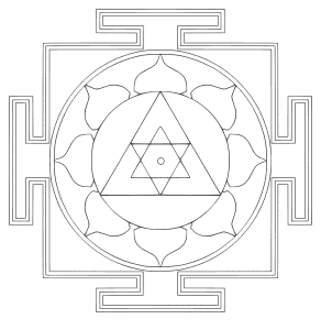 Free printable Yantra Mandala Lotus Pattern.  These mandala coloring pages and coloring sheets are for adults, children, and beginners to download, print and colour.