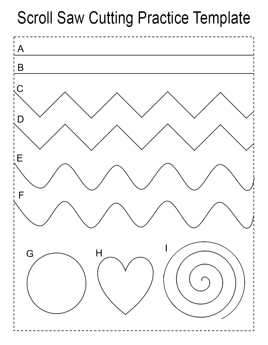 Practice pattern template for the scroll saw or band saw.