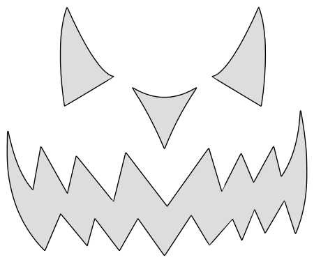 Scary pumpkin carving stencil, pattern, template, halloween decoration, Jack O Lantern,  print download free svg vector.