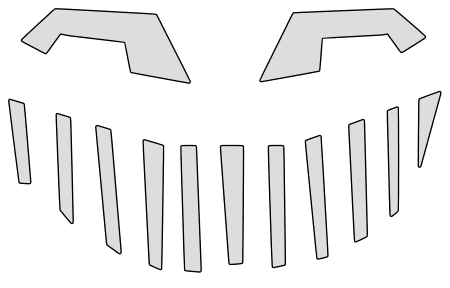 Toothy pumpkin carving stencil, pattern, template, halloween decoration, Jack O Lantern,  print download free svg vector.