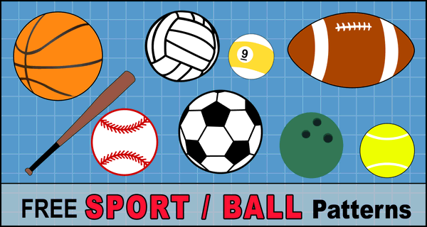 Sports balls patterns, clip art, stencils and templates. Patterns for basketball, baseball, soccer, football, golf, billiards, etc. for coloring, scroll saw, laser cutting.