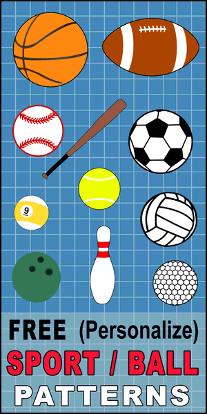 DIY Sports balls patterns, clip art, stencils and templates. Patterns for basketball, baseball, soccer, football, golf, billards, etc. for coloring, scroll saw, laser cutting.