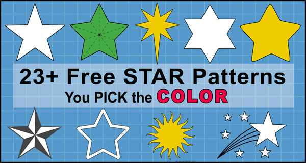 Free Printable star patterns and star templates for Christmas ornaments and decorations, clip art, xmas, coloring pages, Cricut designs, silhouette, guides, cutting machines, scroll saw patterns.