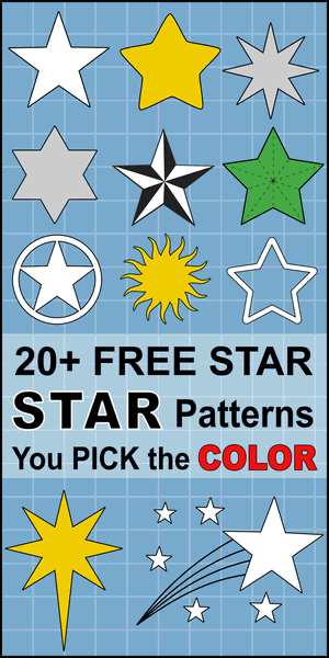 FREE DIY Printable star patterns and star templates for Christmas ornaments and decorations, clip art, xmas, coloring pages, Cricut designs, silhouette, guides, cutting machines, scroll saw patterns.