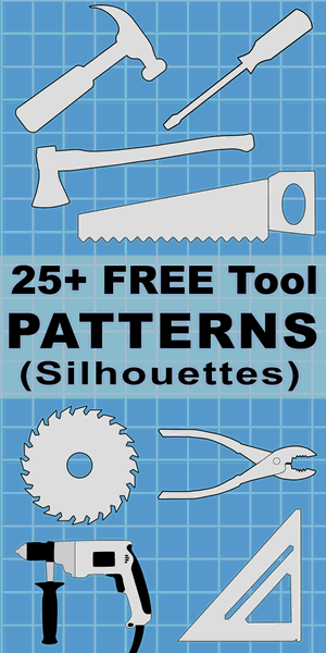 Free printable Tool patterns, stencils, templates, and silhouettes for coloring, scroll saw, laser cutting, sewing, and DIY crafts.