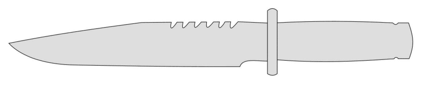 Free Knife (combat).  printable pattern clipart template, stencil, woodworking design, scroll saw, cricut and silhouette svg vector image.