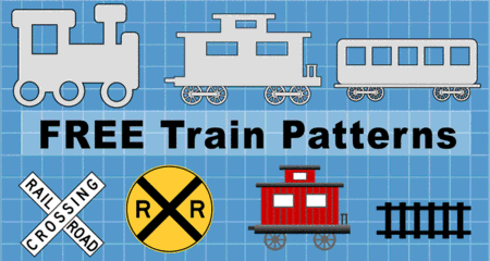 Free printable train car patterns, clip art designs, stencils, templates, caboose, locomotive, box car, flat car, railroad crossing signs, coloring, scroll saw, laser cutting, sewing, and DIY crafts.