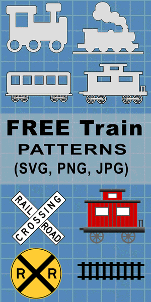 Free DIY printable train car patterns, clip art designs, stencils, templates, caboose, locomotive, box car, flat car, railroad crossing signs, coloring, scroll saw, laser cutting, sewing, and DIY crafts.