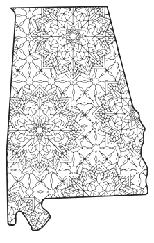 Free printable Alabama coloring page with pattern to color for preschool, kids,  and adults.