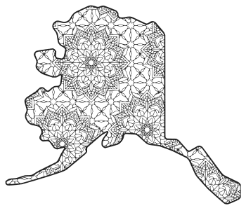 Free printable Alaska coloring page with pattern to color for preschool, kids,  and adults.