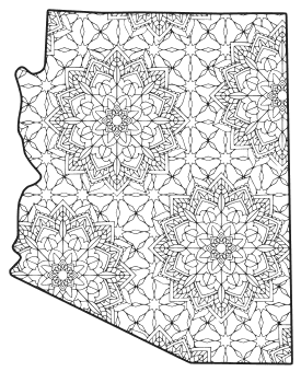 Free printable Arizona coloring page with pattern to color for preschool, kids,  and adults.