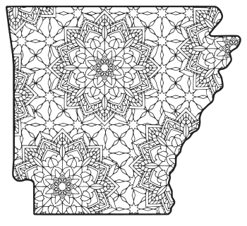 Free printable Arkansas coloring page with pattern to color for preschool, kids,  and adults.