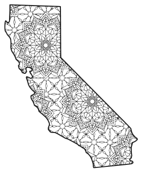 Free printable California coloring page with pattern to color for preschool, kids,  and adults.
