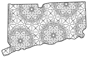Free printable Connecticut coloring page with pattern to color for preschool, kids,  and adults.