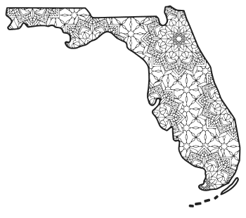 Free printable Florida coloring page with pattern to color for preschool, kids,  and adults.