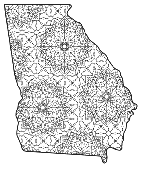 Free printable Georgia coloring page with pattern to color for preschool, kids,  and adults.