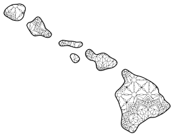 Free printable Hawaii coloring page with pattern to color for preschool, kids,  and adults.