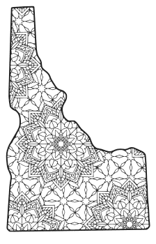 Free printable Idaho coloring page with pattern to color for preschool, kids,  and adults.