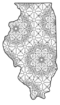 Free printable Illinois coloring page with pattern to color for preschool, kids,  and adults.