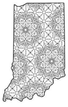 Free printable Indiana coloring page with pattern to color for preschool, kids,  and adults.