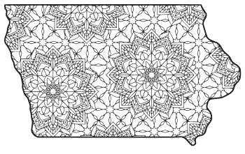 Free printable Iowa coloring page with pattern to color for preschool, kids,  and adults.