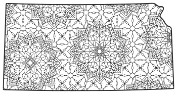 Free printable Kansas coloring page with pattern to color for preschool, kids,  and adults.